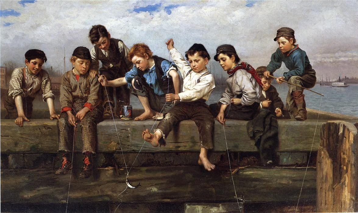 Un moment palpitant, 1880 de John George Brown (1831-1913, United Kingdom) | WahooArt.com