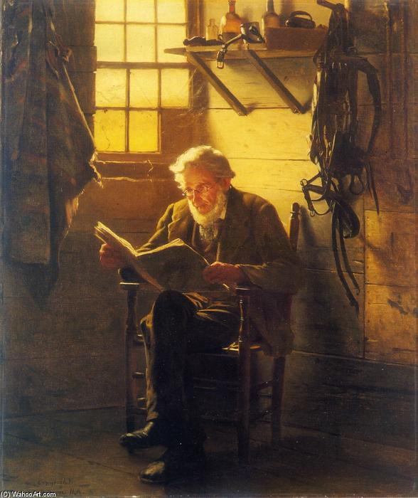 Un Idle Hour, huile sur toile de John George Brown (1831-1913, United Kingdom)