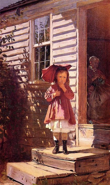 Parasol brisé (de parasol aka broken) de John George Brown (1831-1913, United Kingdom)