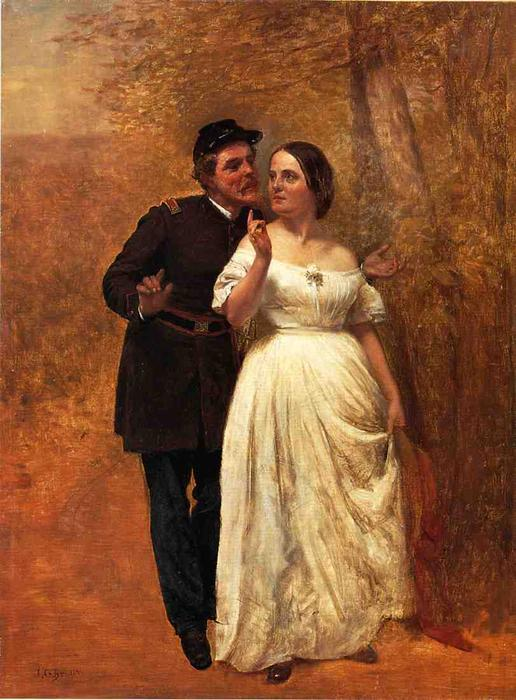 Courting, huile sur toile de John George Brown (1831-1913, United Kingdom)
