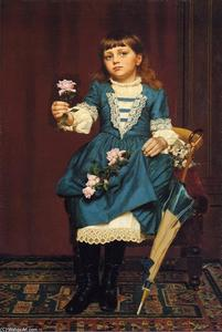 John George Brown - Marguerite mccomb Tenant un rose rose