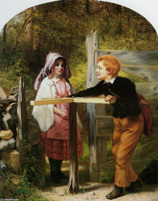 Pay Toll, huile sur toile de John George Brown (1831-1913, United Kingdom)