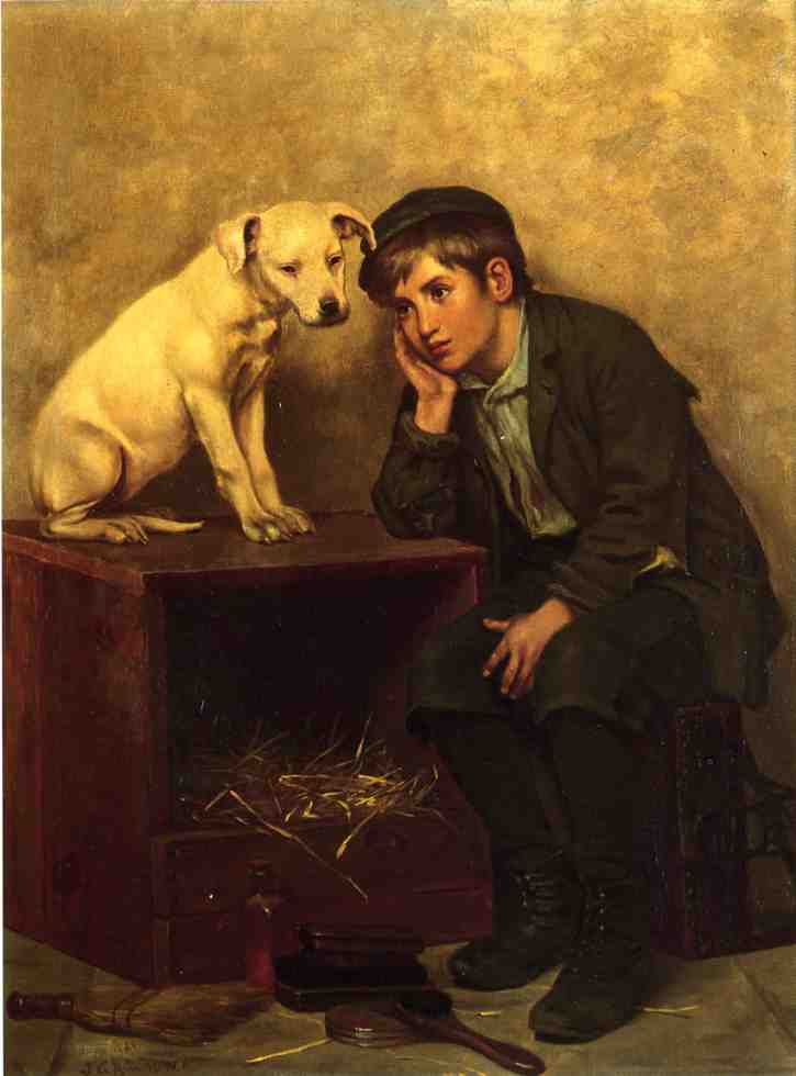 shoeshine` garçon avec son chien de John George Brown (1831-1913, United Kingdom) | WahooArt.com