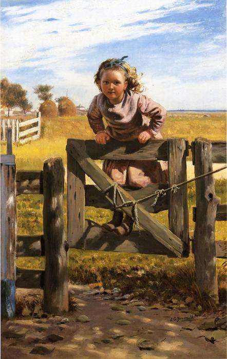 Se balancer sur une porte, Southampson, New York, huile sur toile de John George Brown (1831-1913, United Kingdom)