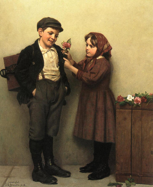 Le bouton Trou Posey de John George Brown (1831-1913, United Kingdom) | WahooArt.com