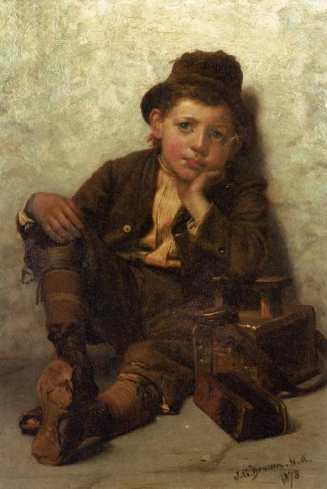 la petite chaussure `shine` garçon, 1878 de John George Brown (1831-1913, United Kingdom) | Reproductions D'œuvres D'art John George Brown | WahooArt.com