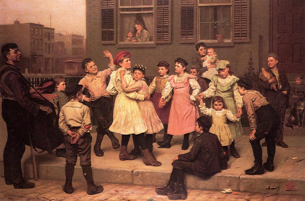Le Trottoir Dance (aka un trottoir Dance) de John George Brown (1831-1913, United Kingdom) | WahooArt.com