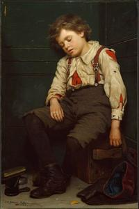 John George Brown - Tuckered Out Boy Le Cireur de chaussures