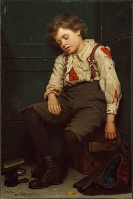 Tuckered Out Boy Le Cireur de chaussures de John George Brown (1831-1913, United Kingdom) | WahooArt.com