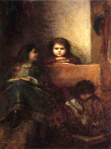 Jonathan Eastman Johnson - enfants lecture