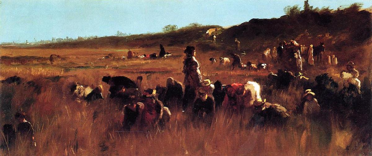 Cranberry Pickers, Nantucket de Jonathan Eastman Johnson (1824-1906, United Kingdom) | Reproductions D'art Sur Toile | WahooArt.com