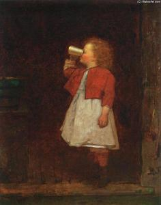 Jonathan Eastman Johnson - Little Girl avec Red Jacket potable à partir Tasse