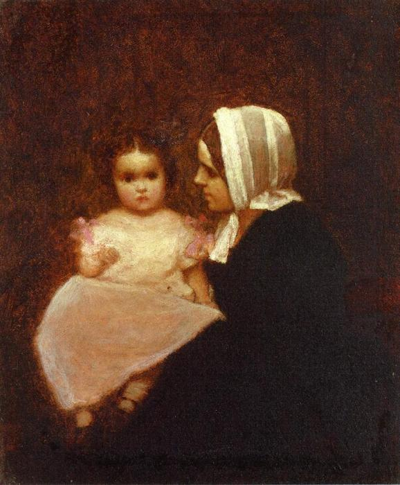 mère et enfant 1   de Jonathan Eastman Johnson (1824-1906, United Kingdom)