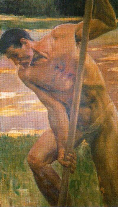 nu masculin . ( Étudier For''the Decalogue'' ) 1 de José Villegas Cordero (1844-1921, Spain)