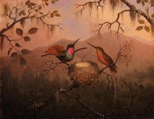 Martin Johnson Heade - deux `hummingbirds` à un nid