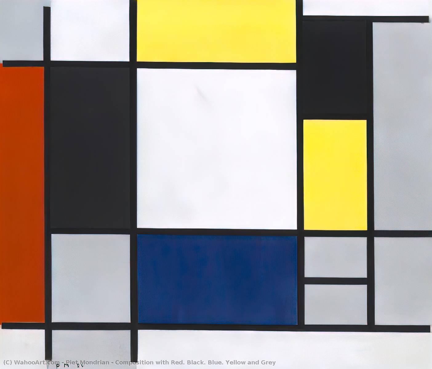 Composition avec rouge noirs bleu jaunes et gris de piet for Tableau jaune et gris
