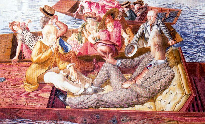Prédication du Christ à Cookham Regata. Réunion Punts de Stanley Spencer (1891-1959, United Kingdom)