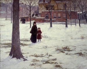 Theodore Clement Steele - 16th Rue , Indianapolis ( hiver matin )