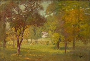 Theodore Clement Steele - Paysage et White Cottage