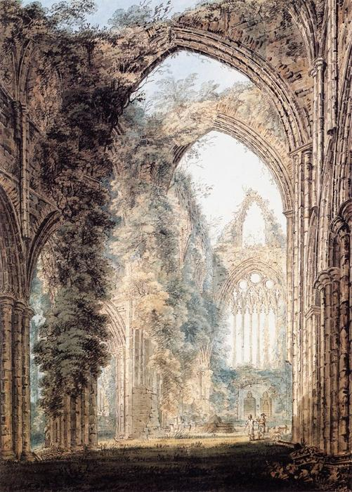 intérieur de l abbaye de tintern en regardant vers la fenêtre de l ouest de Thomas Girtin (1775-1802, United Kingdom) | Reproductions De Qualité Musée Thomas Girtin | WahooArt.com