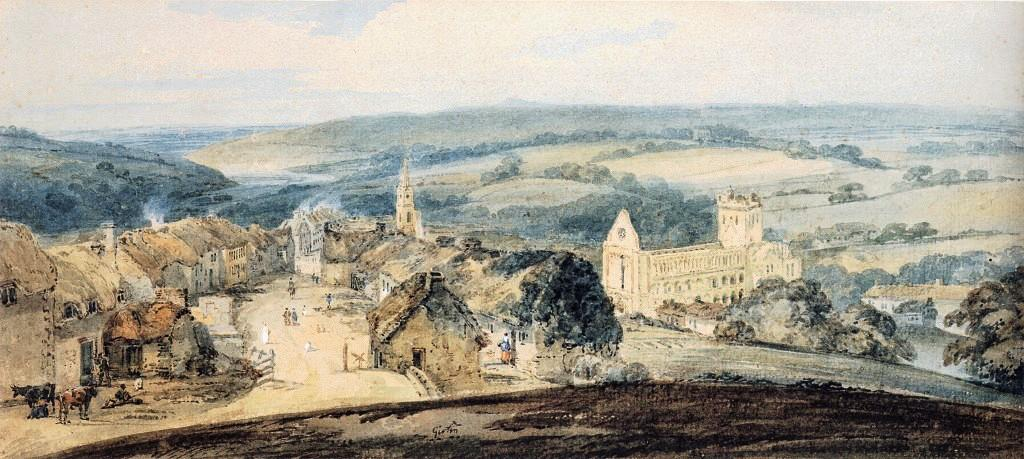 le village of Jedburgh , Scotland de Thomas Girtin (1775-1802, United Kingdom) | Reproductions De Peintures Thomas Girtin | WahooArt.com