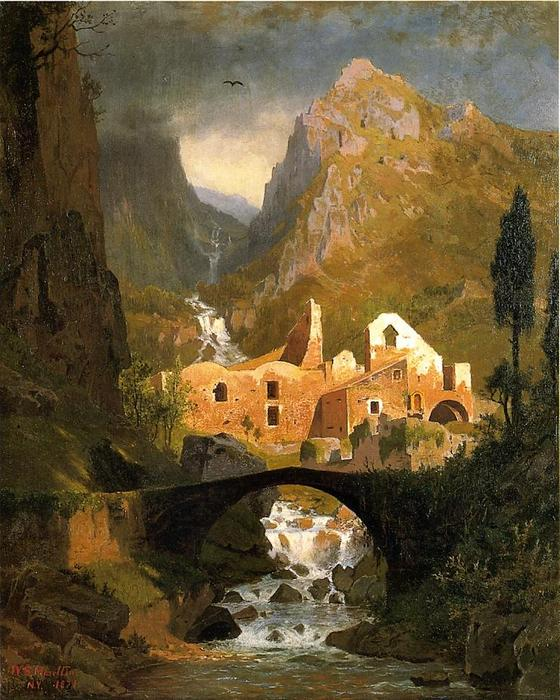 Valle dei Molini - Amalfi de William Stanley Haseltine (1835-1900, United States) | Reproductions D'art Sur Toile | WahooArt.com