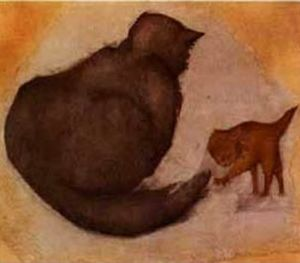 Edward Coley Burne-Jones - Chat et chaton