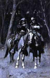 Frederic Remington - Cheyenne Scouts Patrouiller le Big Timber du Nord canadien, Oklahoma