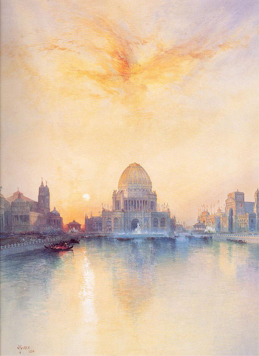 chicago foire mondiale, 1894 de Thomas Moran (1837-1926, United Kingdom) | Copie Tableau | WahooArt.com