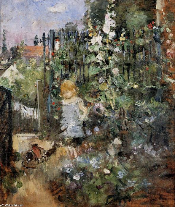 enfant dans le rose jardin 1881 de berthe morisot 1841 1895 france reproductions d 39 art sur. Black Bedroom Furniture Sets. Home Design Ideas