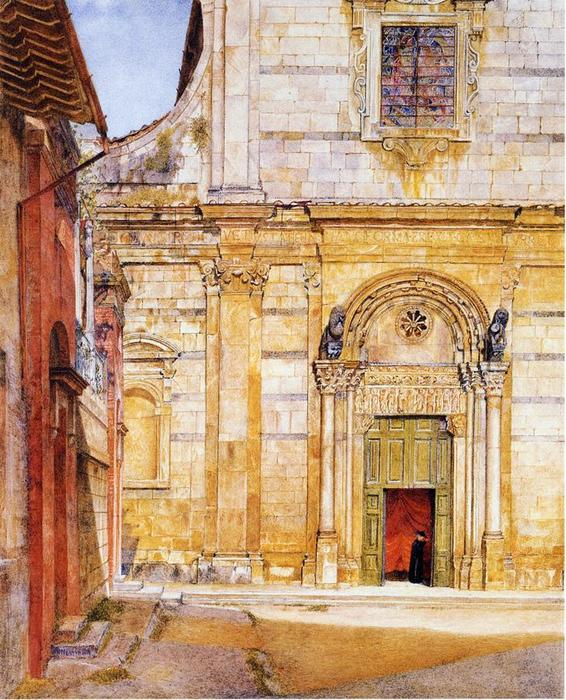 Le Church of San Giovanni , Lucca, aquarelle de Henry Roderick Newman (1833-1918, United States)