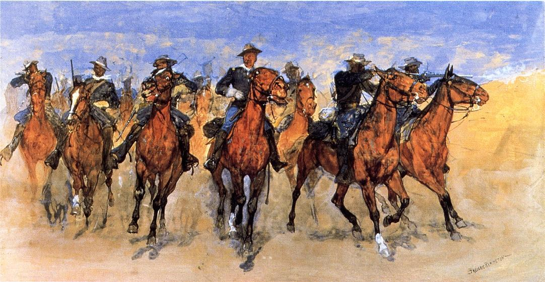 Colored Troopers à la rescousse, peinture de Frederic Remington (1861-1909, United States)