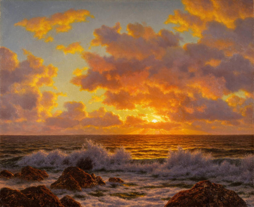 coucher du soleil l adriatique huile sur toile de ivan fedorovich choultse 1875 1932 russia. Black Bedroom Furniture Sets. Home Design Ideas