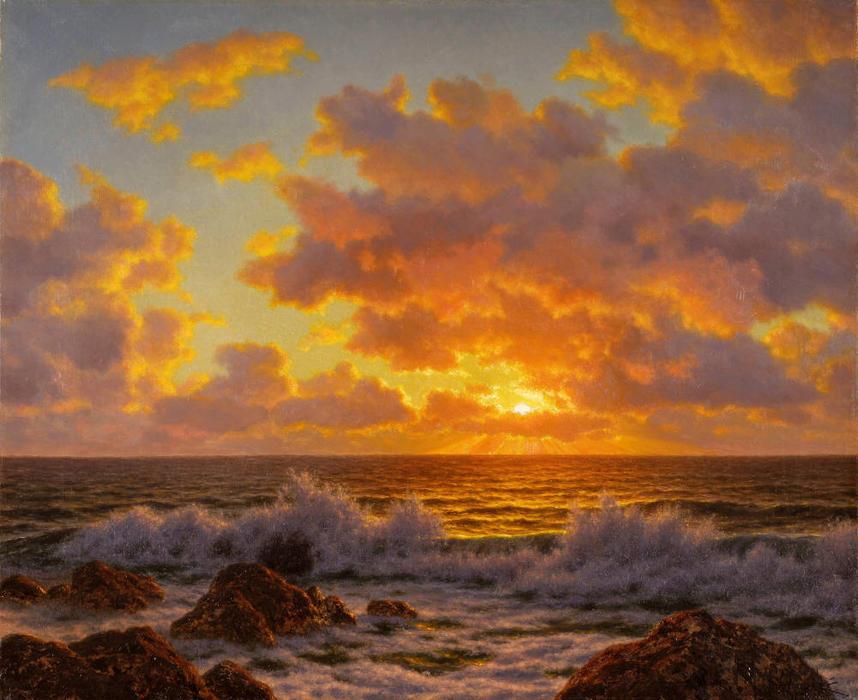Coucher du soleil l adriatique huile sur toile de ivan - L heure du coucher du soleil aujourd hui ...