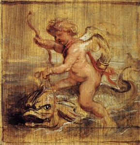 Peter Paul Rubens - cupidon `riding` a dauphin
