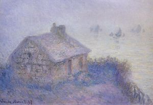 Claude Monet - customs house à varengeville dans le brouillard ( également connu sous le nom blue effect )