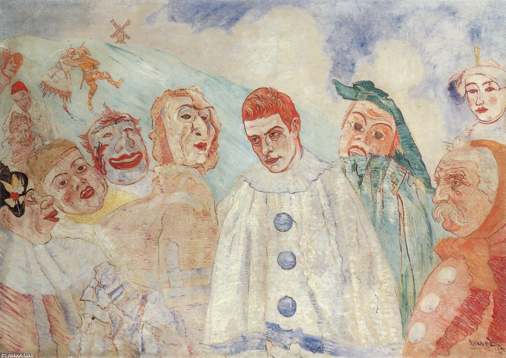 le `despair` des pierrot, 1892 de James Ensor (1860-1949, Belgium) | WahooArt.com