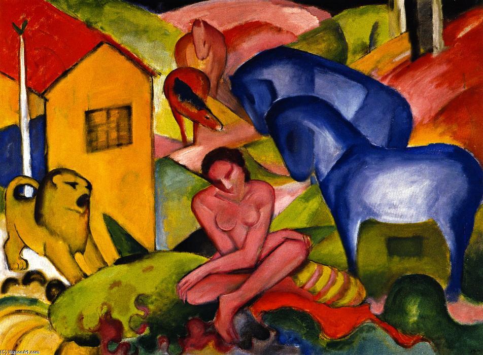 Le Rêve, 1912 de Franz Marc (1880-1916, Germany) | Reproductions D'art De Musée Franz Marc | WahooArt.com