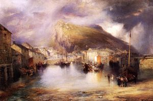 Thomas Moran - une pêche english village , Polperro , Cornouailles