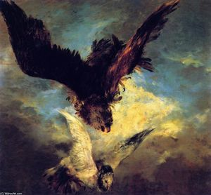 Adolph Menzel - Falcon Swooping sur une Dove