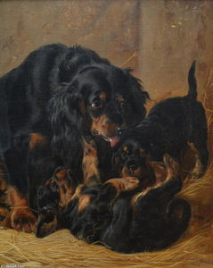 Richard Ansdell - Une Famille of Gordon Setters