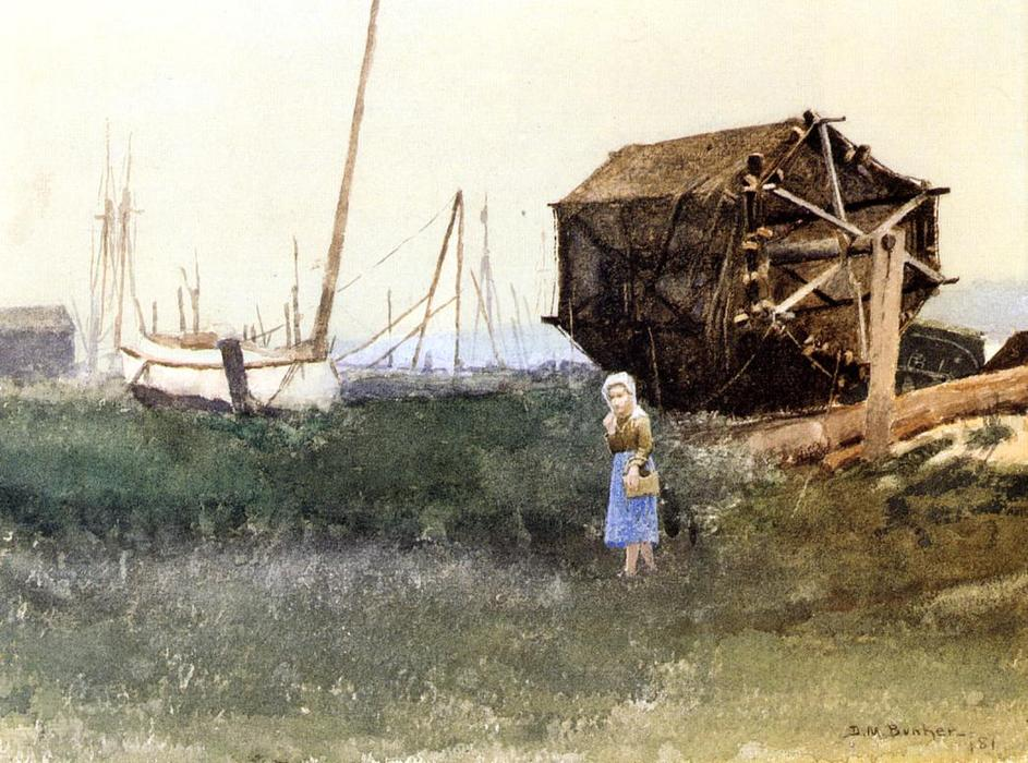 La Fille Fisher, Nantucket, aquarelle de Dennis Miller Bunker (1861-1890, United States)
