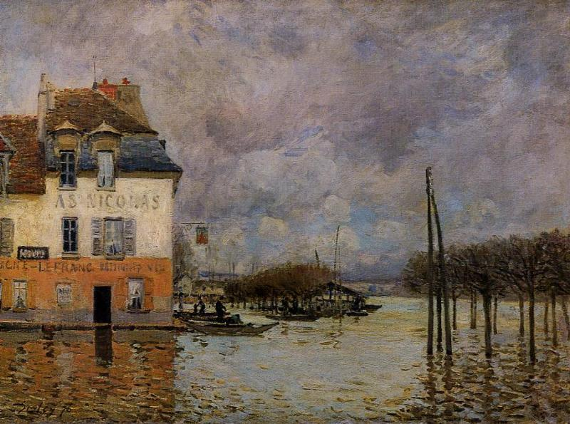 Inondation à Port-Marly, huile sur toile de Alfred Sisley (1839-1899, France)