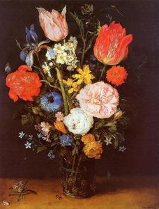Jan Brueghel The Elder - fleurs a verre vase