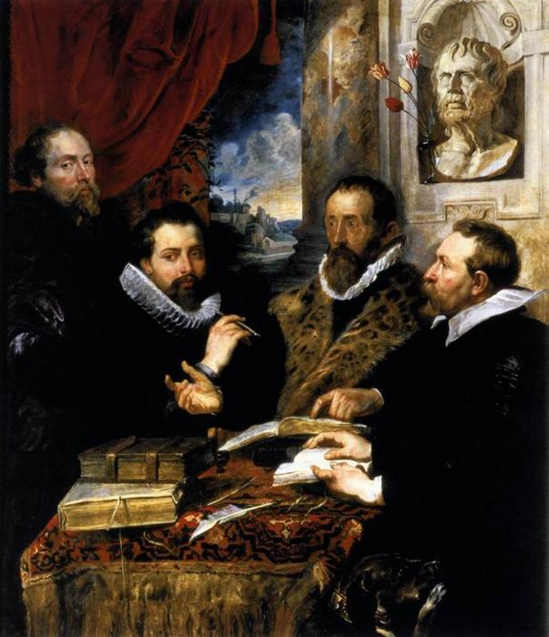 Les quatre philosophes, 1611 de Peter Paul Rubens (1577-1640, Germany) | Reproductions De Peintures Peter Paul Rubens | WahooArt.com