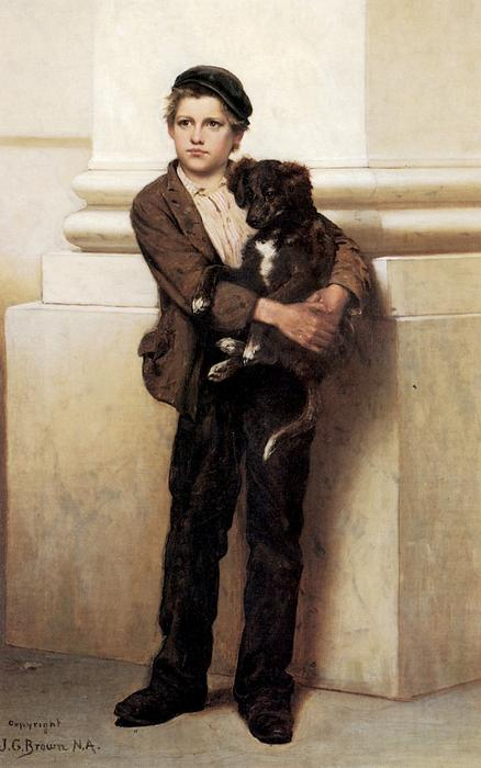 frank et la sienne chien de John George Brown (1831-1913, United Kingdom) | WahooArt.com