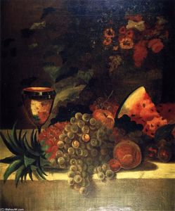 William Merritt Chase - fruits et fleurs nature morte ( B )
