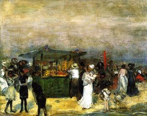 William James Glackens - stand de fruits de Coney Island
