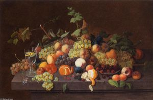Severin Roesen - fruits nature morte avec  Verre  de  Limonade