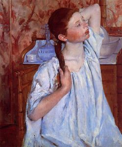 Mary Stevenson Cassatt - fille `arranging` elle cheveux
